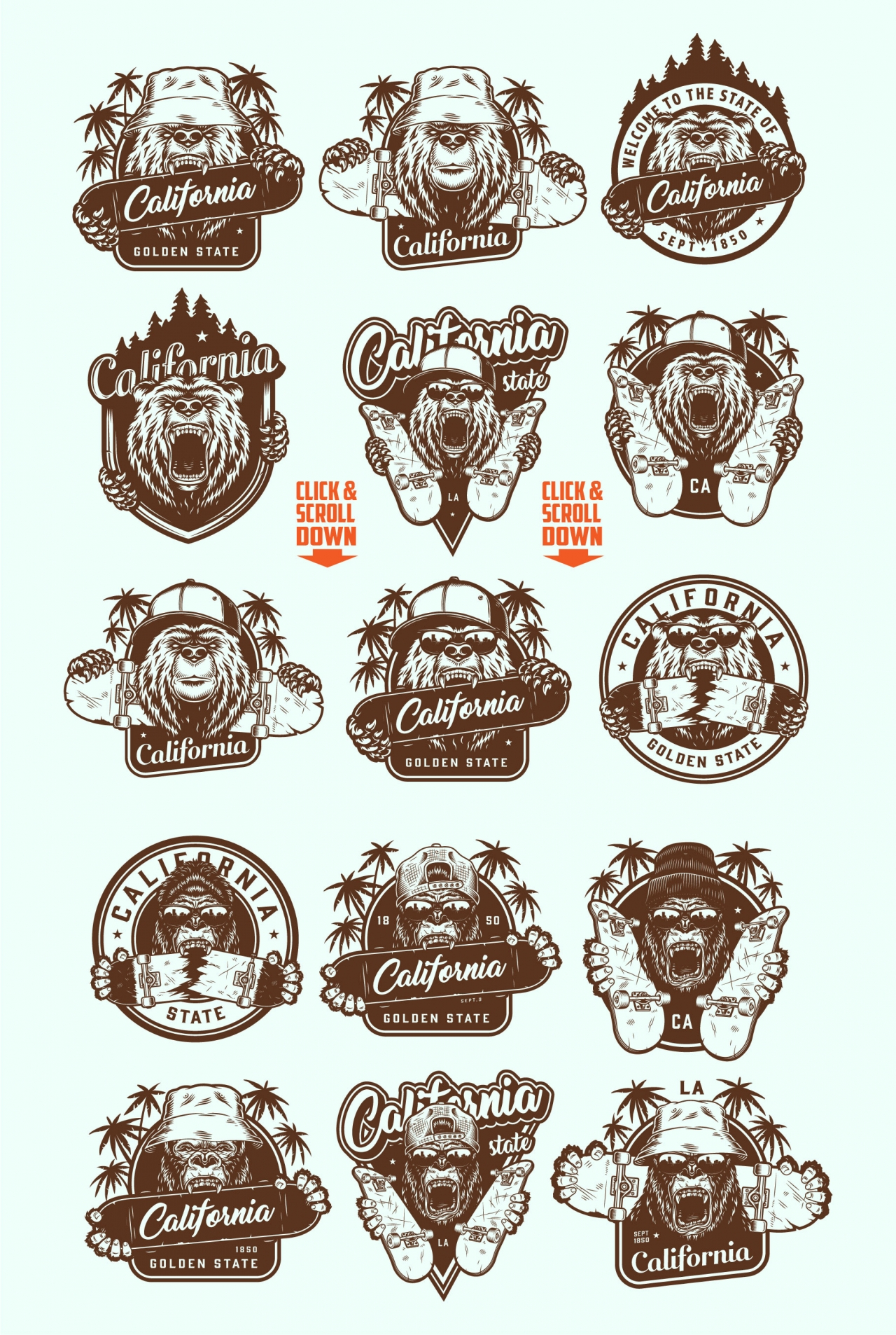 Vintage California summer emblems with angry bear and gorilla heads in different headwears with skateboards in monochrome style
