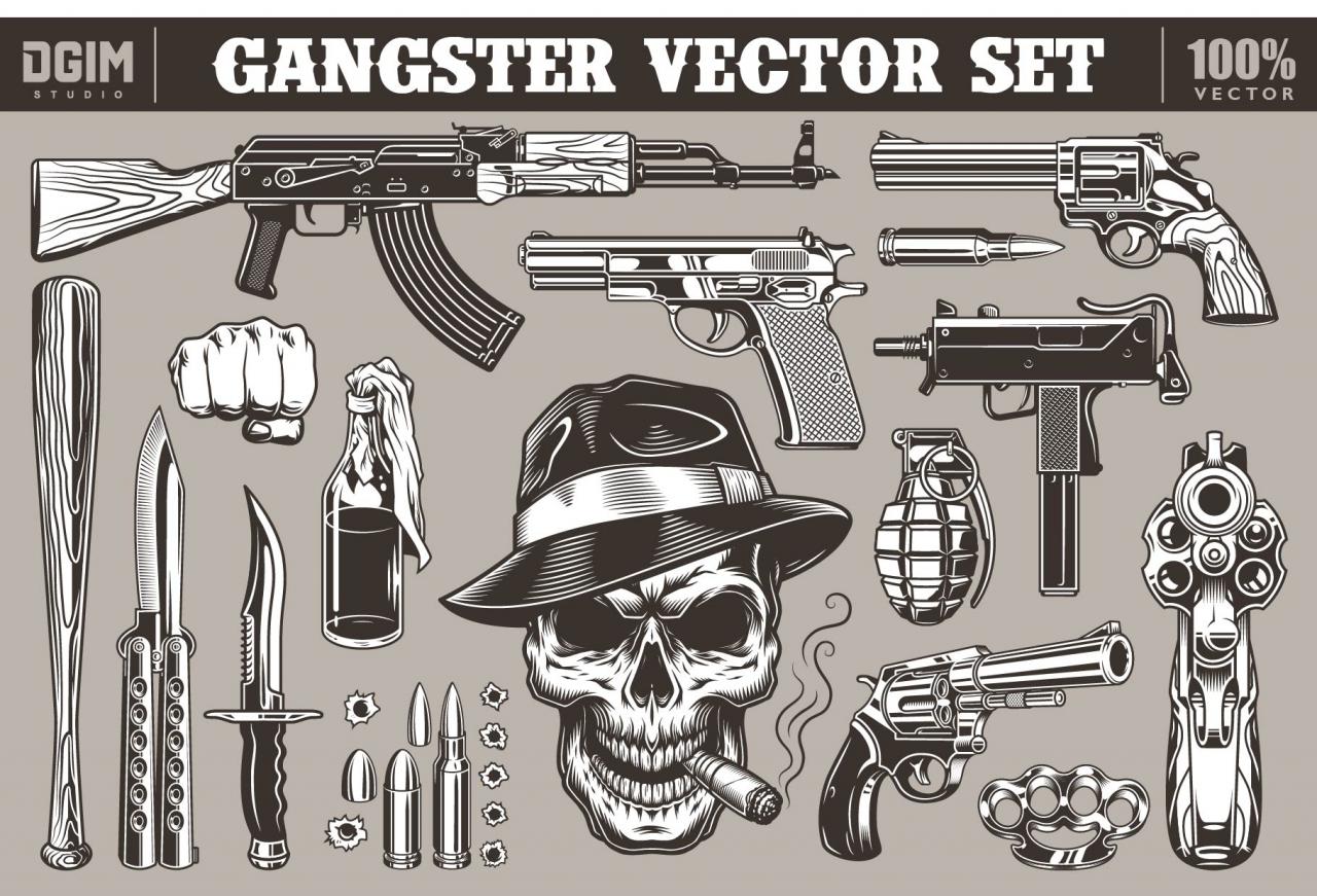 Set of gangster illustrations