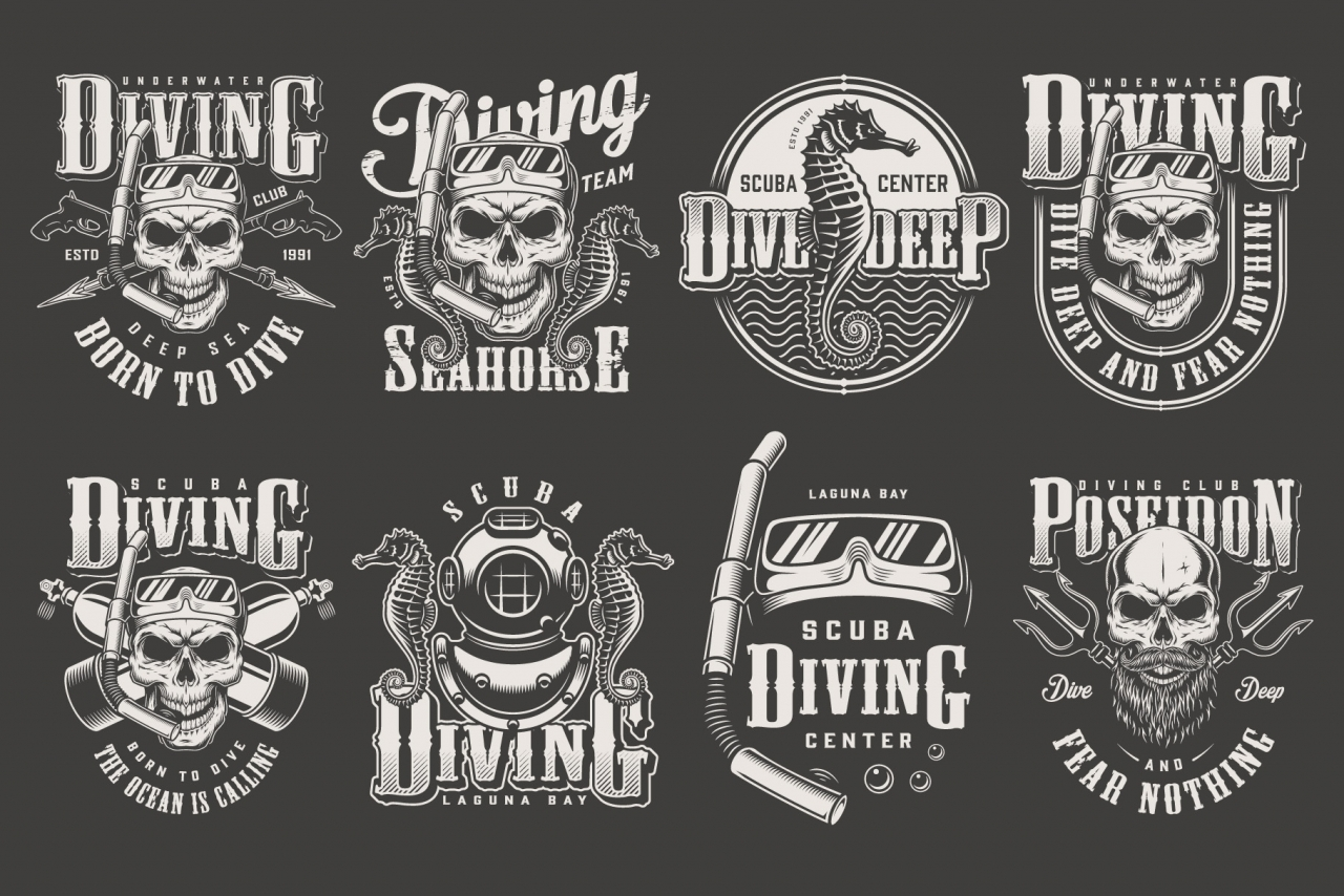 Vintage monochrome style diver labels collection with skull in scuba mask and snorkel, diving equipment, seahorse, Poseidon tridents on dark background