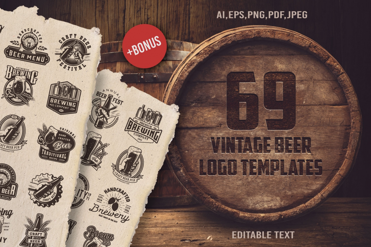 Vintage beer designs cover with realistic wooden barrel of beer and monochrome style emblems and badges