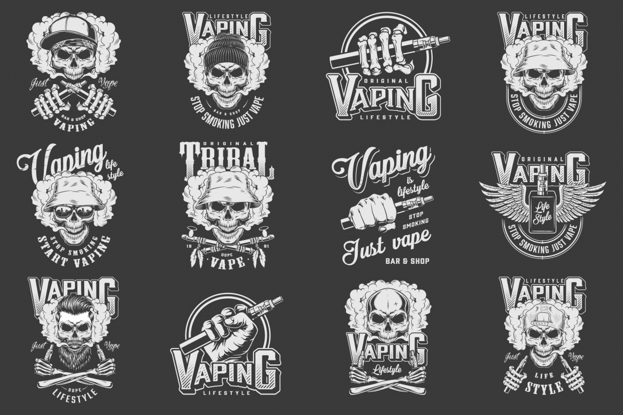 Vintage vaping emblems collection with crossed smoking pipes, winged vaporizer, electronic cigarettes and skulls wearing panama, hipster hats, baseball cap