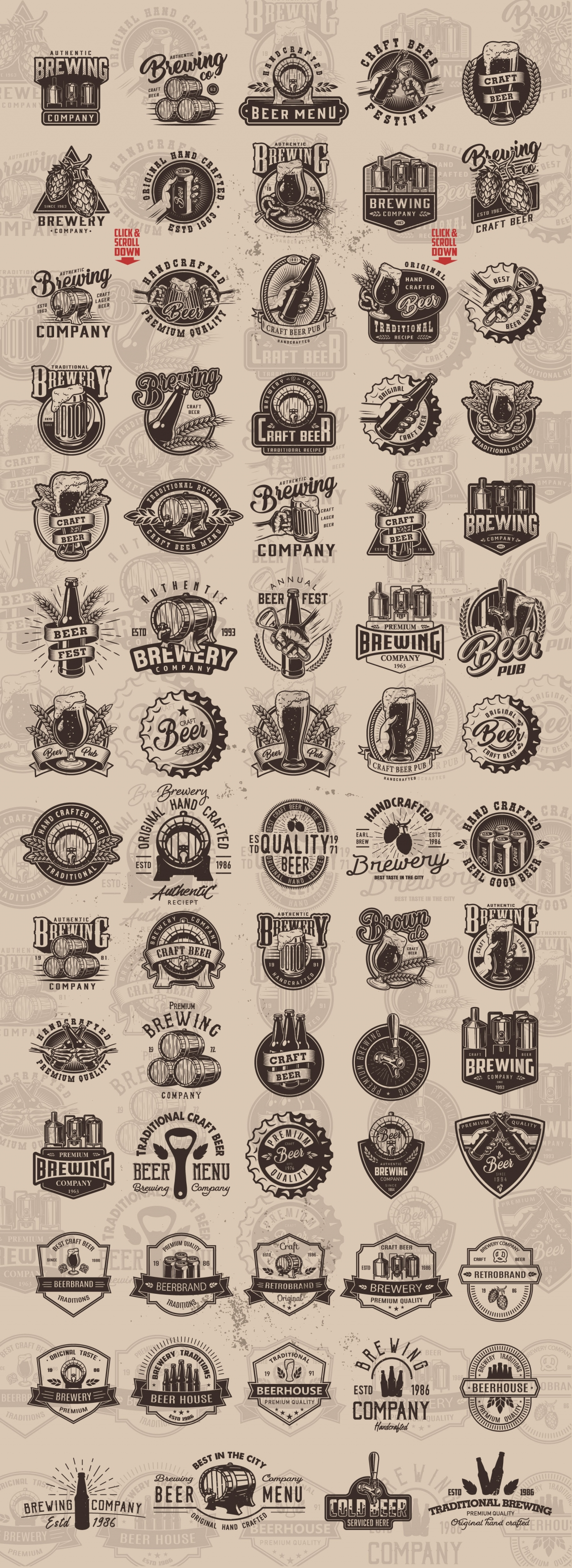 Vintage monochrome style beer designs big set with brewing emblems, badges, prints and labels on light background