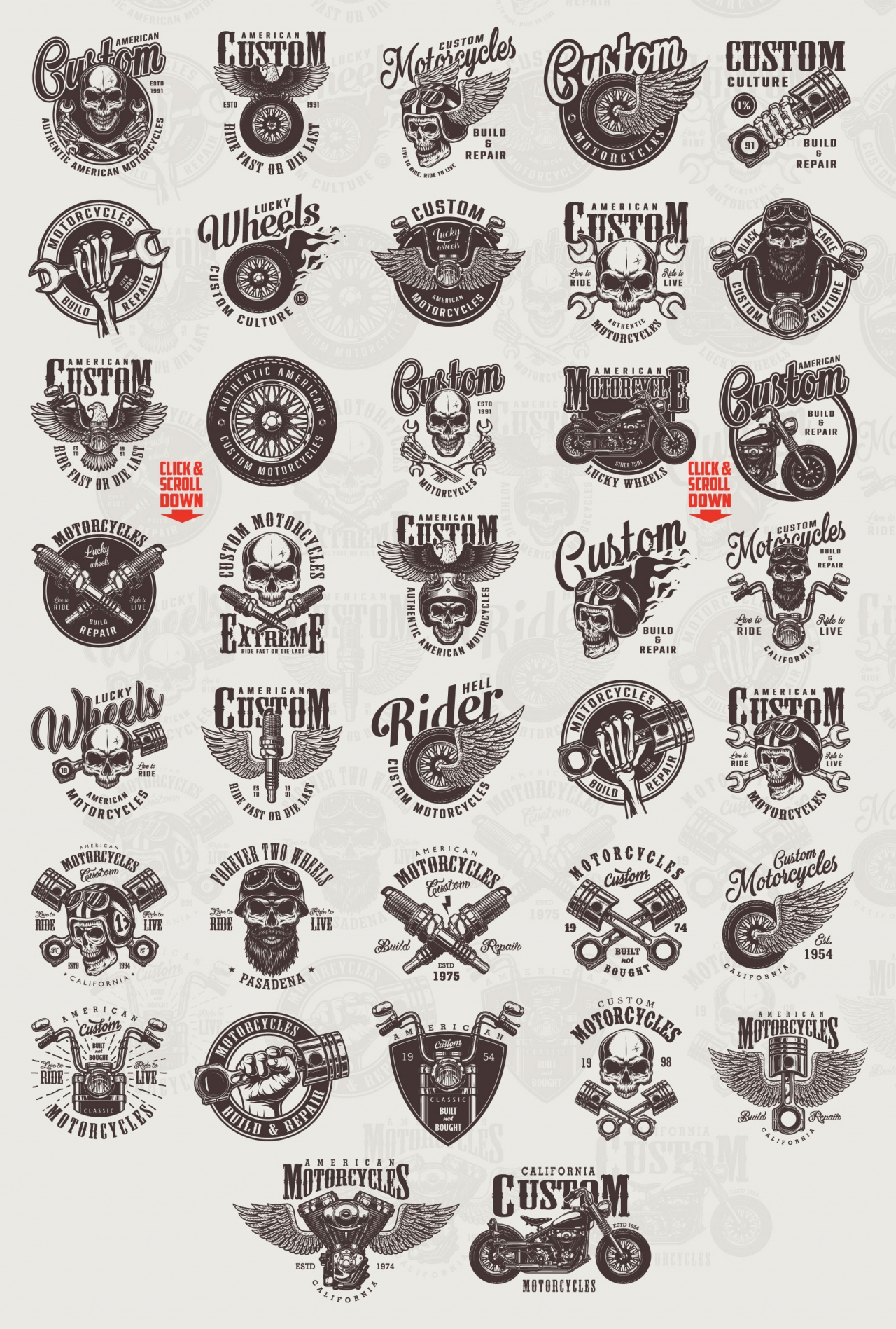Vintage custom motorcycle designs collection with moto labels, emblems, badges, prints in monochrome style on light background