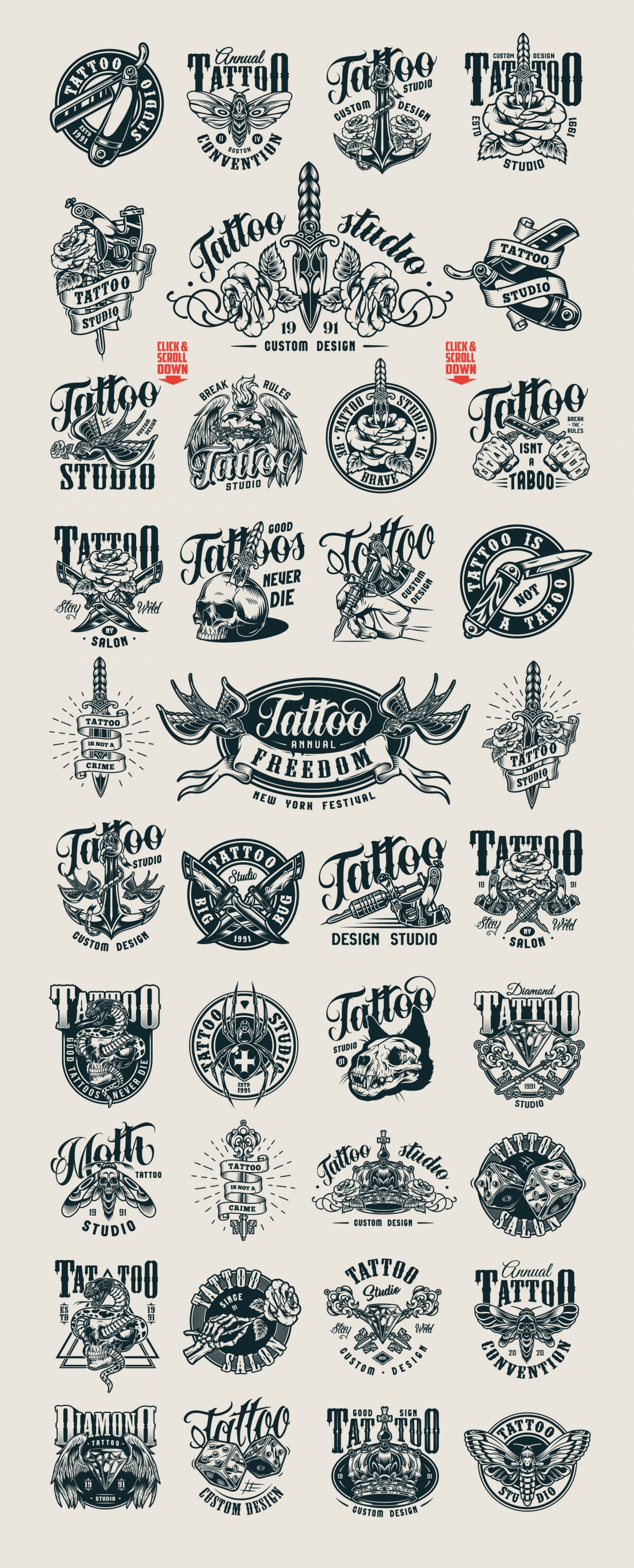 Monochrome style tattoo designs with vintage badges, prints, labels and emblems on light background