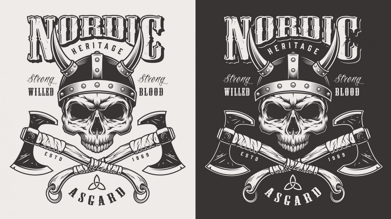 Vikings monochrome design