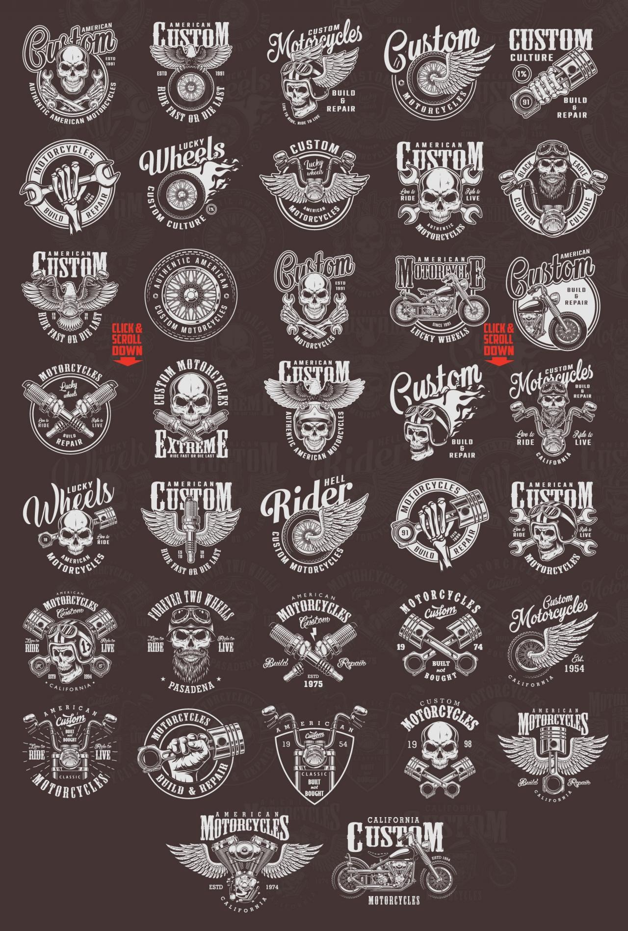 37 Vintage Custom Motorcycle Emblems Vector Design Dgimstudio Com