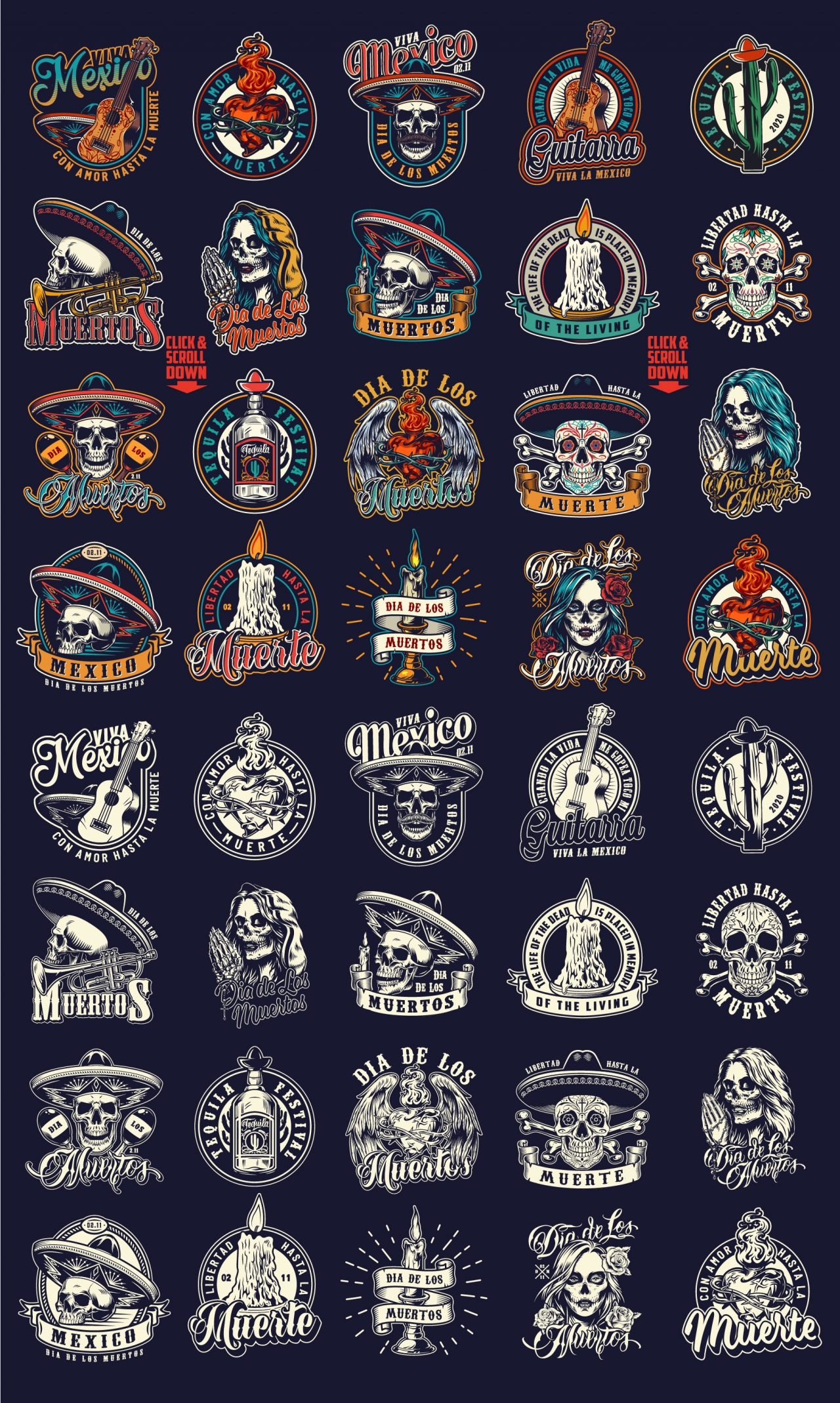 Old school style Dia De Los Muertos emblems collection with monochrome and colorful prints on dark background