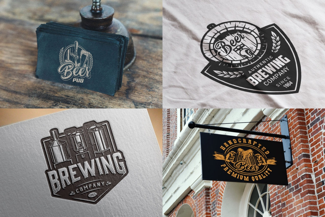 Beer mockups composition with vintage monochrome style beer emblems, logos, badges using for beer pub business cards, apparel design, menu cover and bar signboard