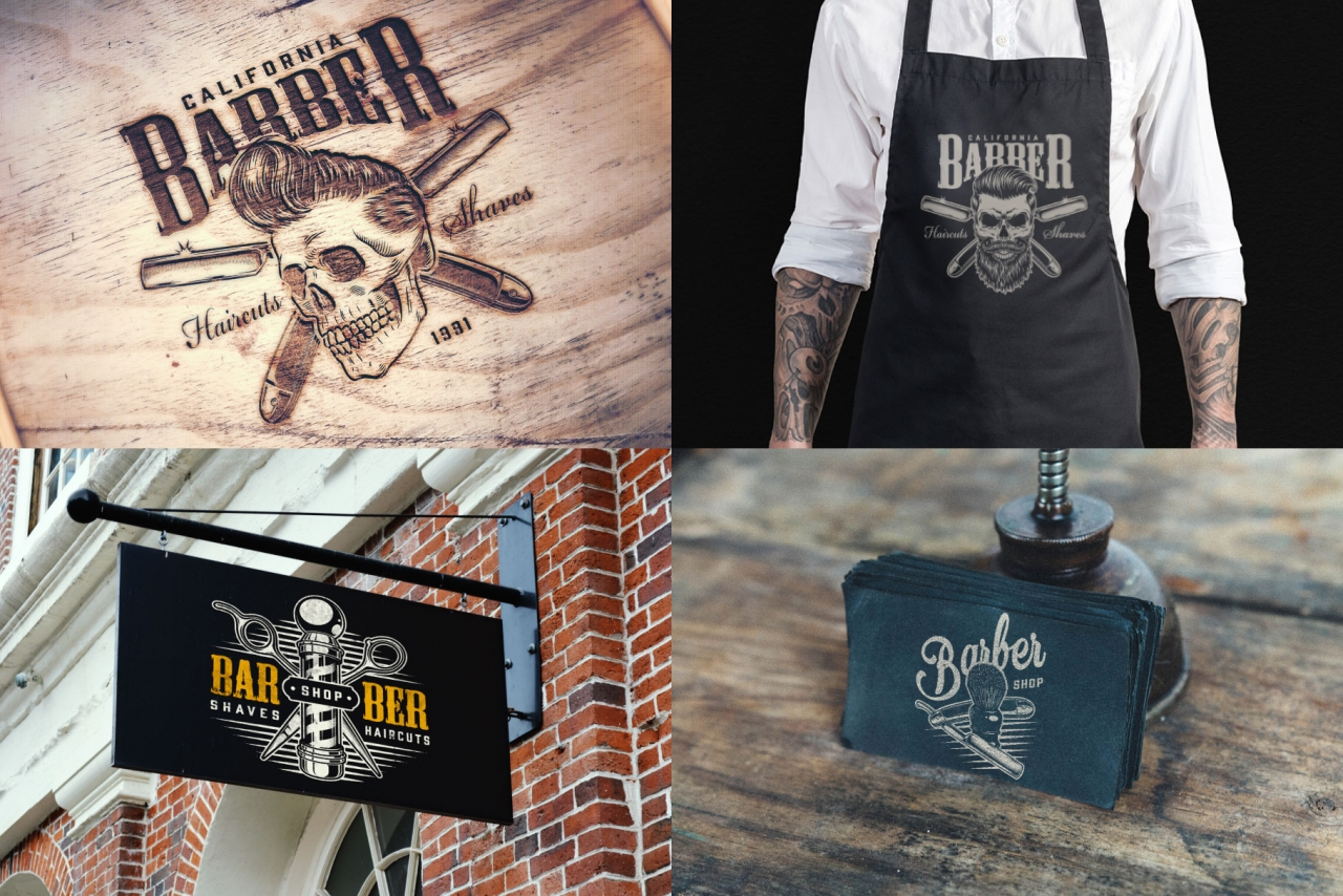 Vintage barbershop mockups composition with barbershop emblems and logos, using for printing on barber apron, business card, signboard and wooden surface