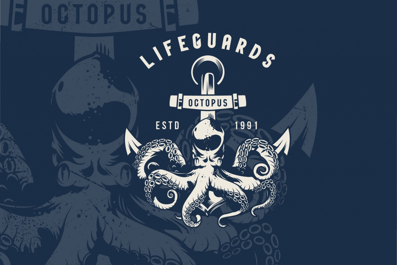 Monochrome sea life emblem with octopus in vintage style