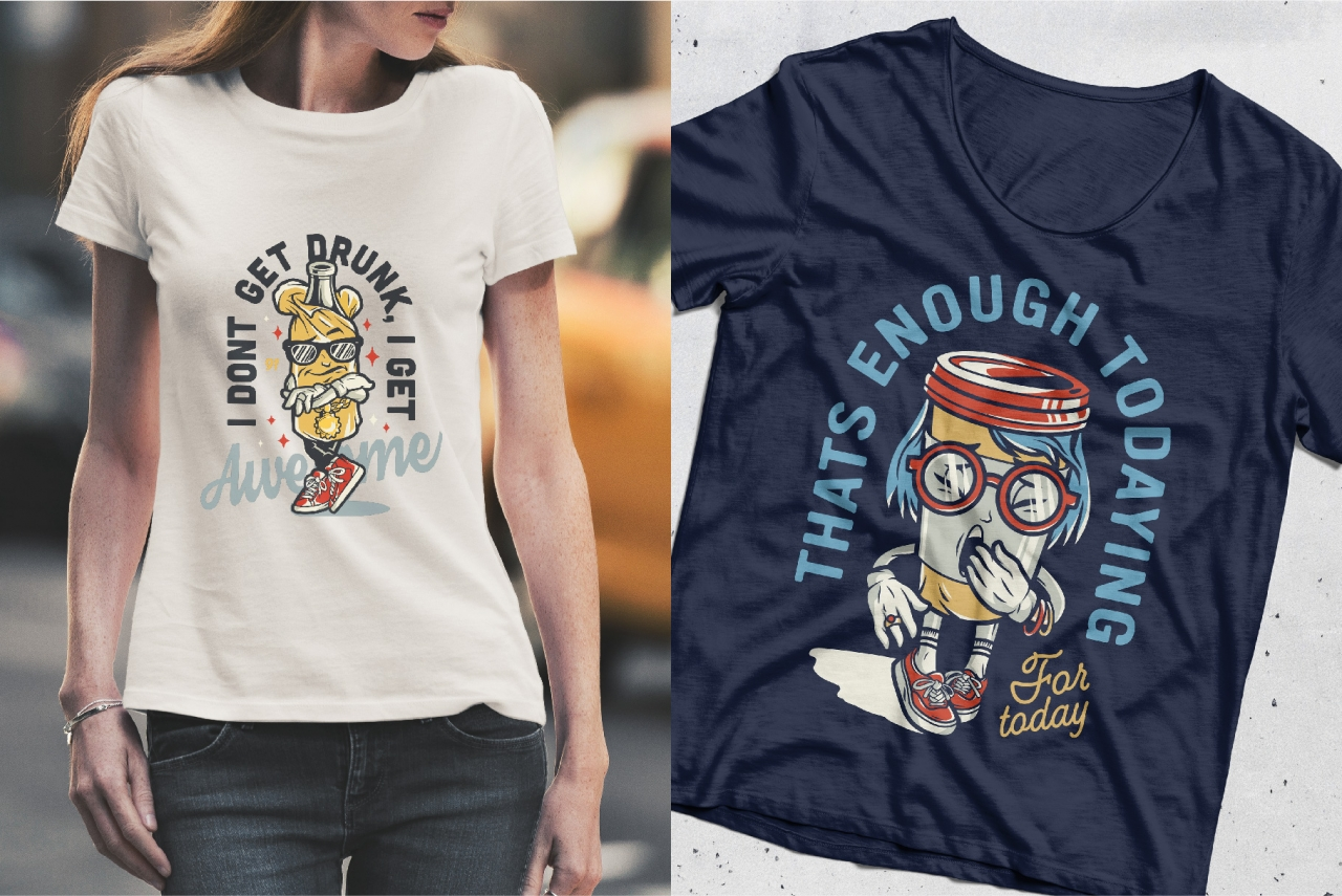 Vintage colorful college emblems of stylish bottle in paper bag and yawning coffee cup characters printing on female t-shirts