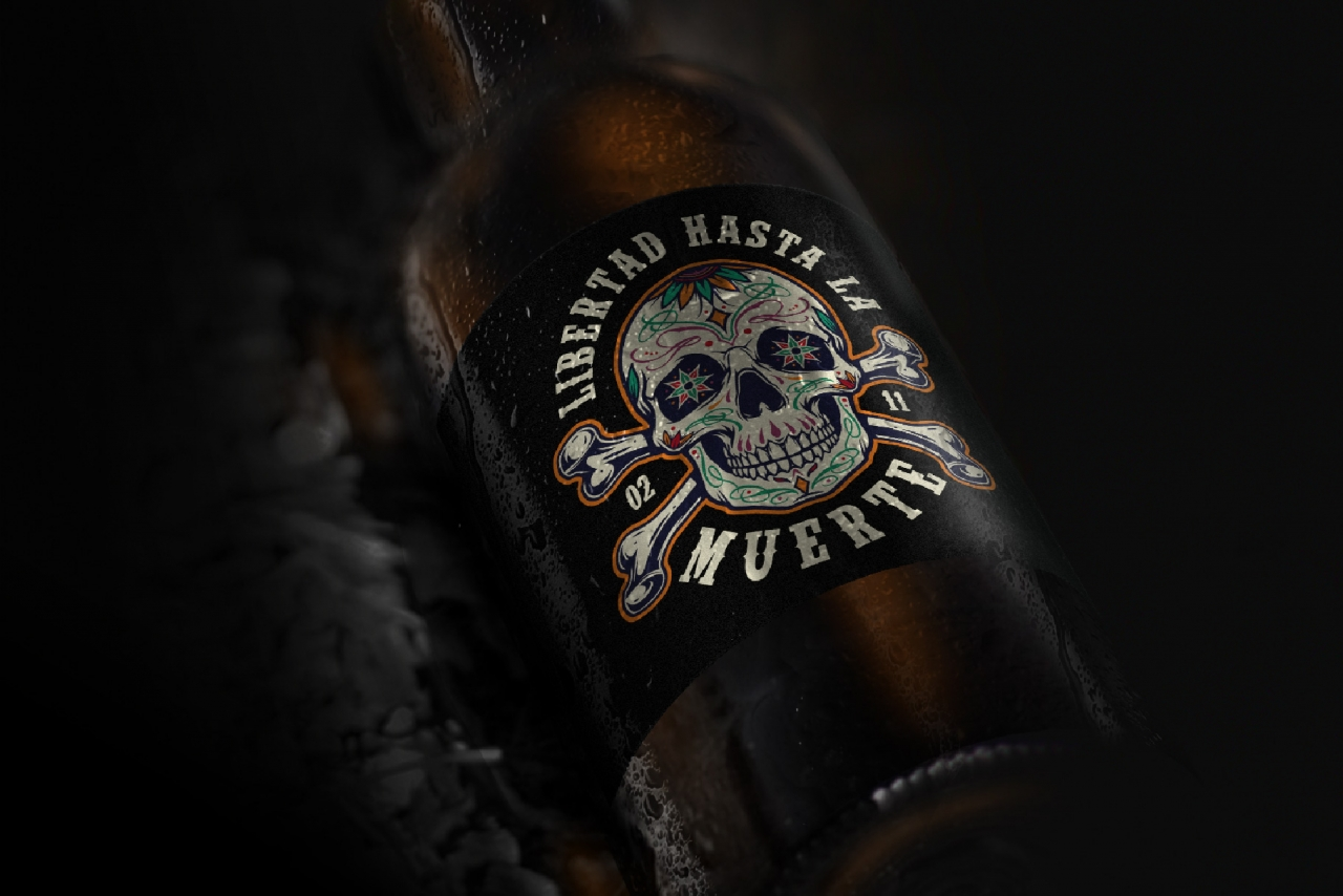 Vintage colorful Dia De Los Muertos packaging design template of bottle with sugar skull and crossbones label