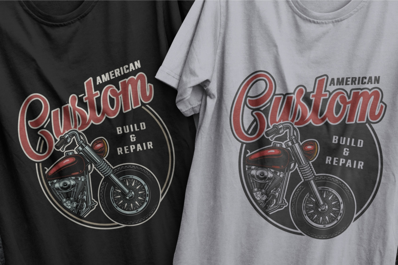 American custom motorcycle vintage badges using for t-shirt design