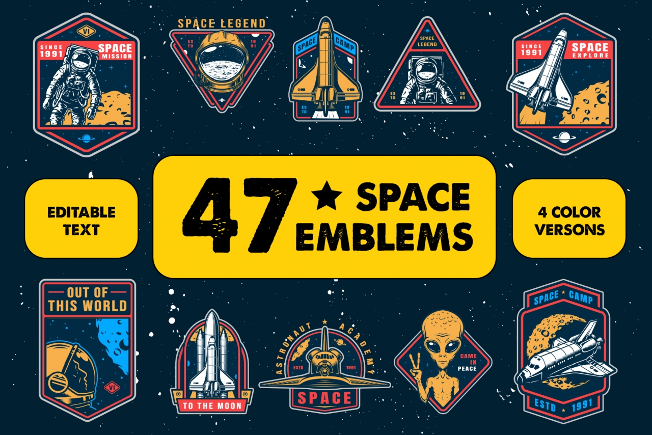 Vintage Space Emblems Set