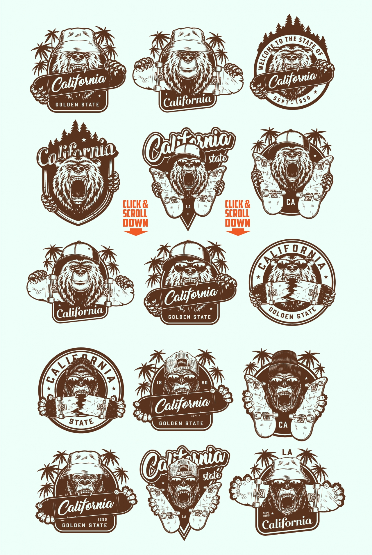 Vintage California badges collection with angry bear and gorilla heads in different headwears with skateboards on light background. Vector art
