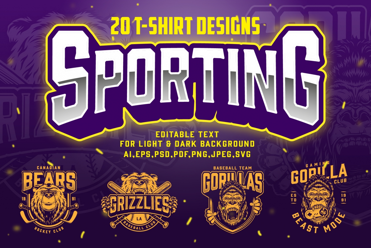Vintage Sporting t-shirt designs template with sport and gaming clubs emblems