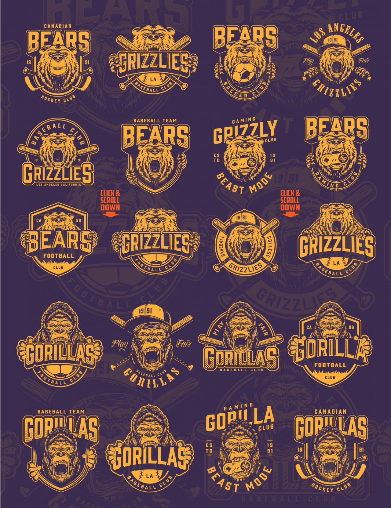 Old school style sporting prints collection with different emblems and labels for baseball, hockey, soccer and gaming clubs
