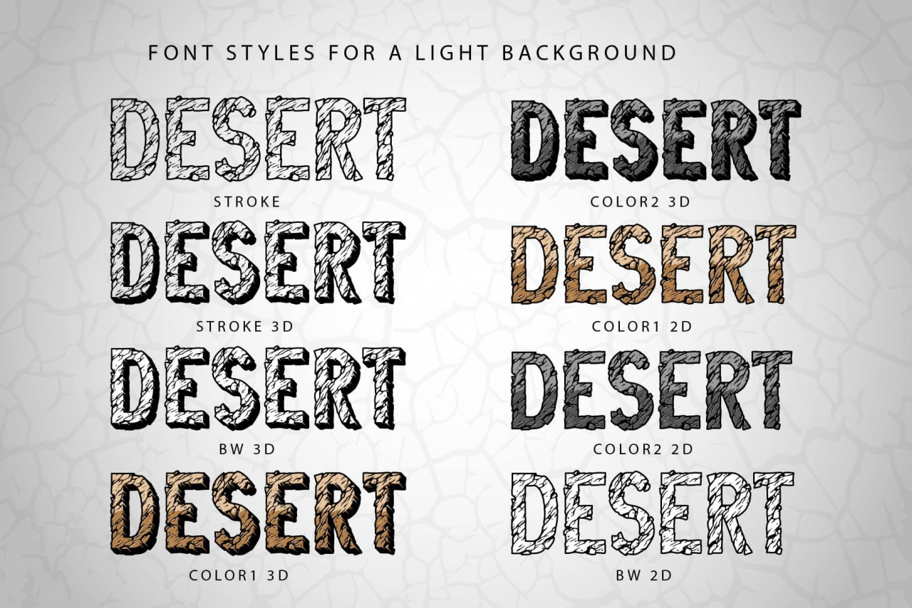 Examples of Desert Rock font styles for light background with different effects