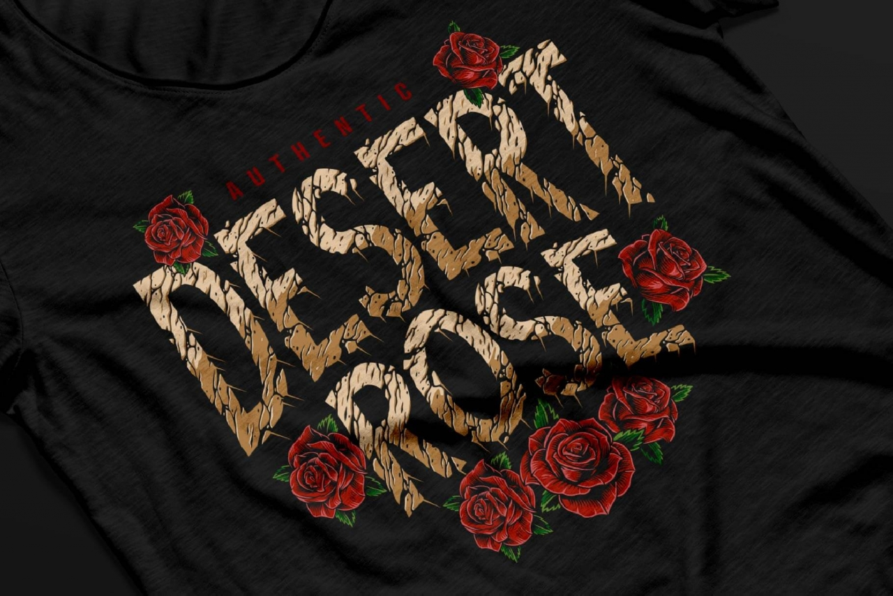 Apparel print design with desert rock font as a headline on a shirt mockup
