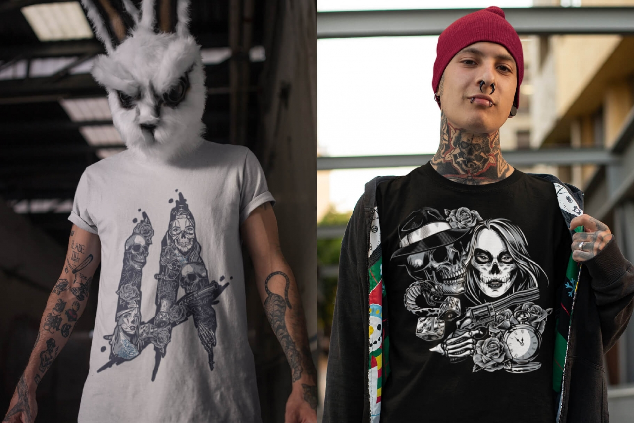 Examples of usage Chicano tattoo style designs on three t-shirt mockups with tattooed men with industrial background