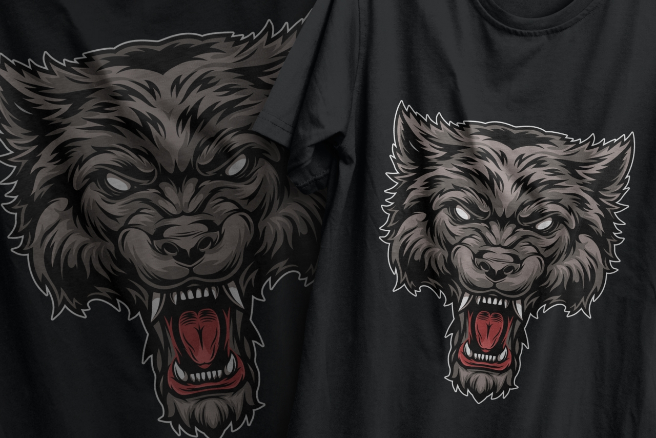 The old school style colorful furious wolf head design printing on t-shirts