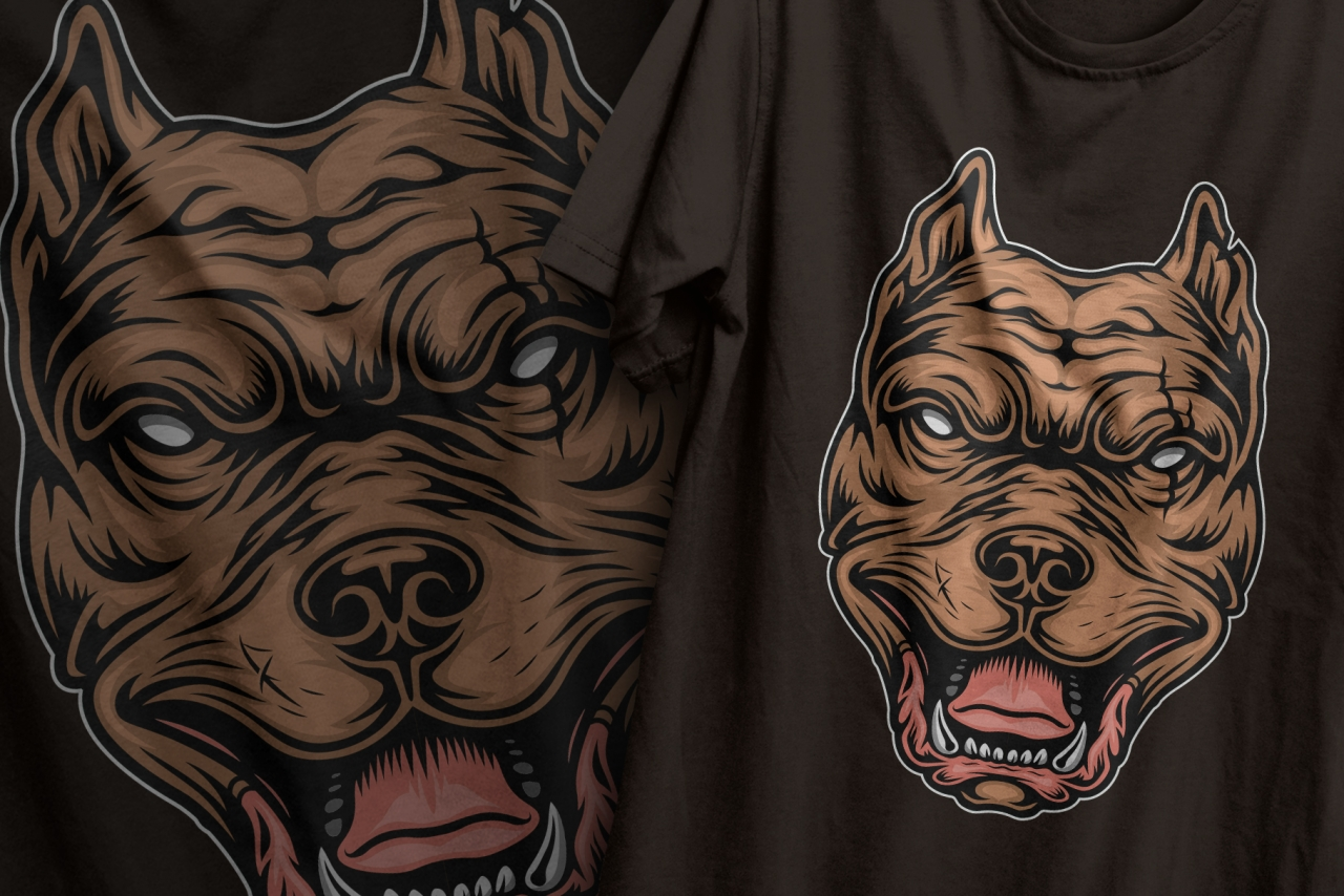 The old school style design of colorful pitbull head printing on t-shirts