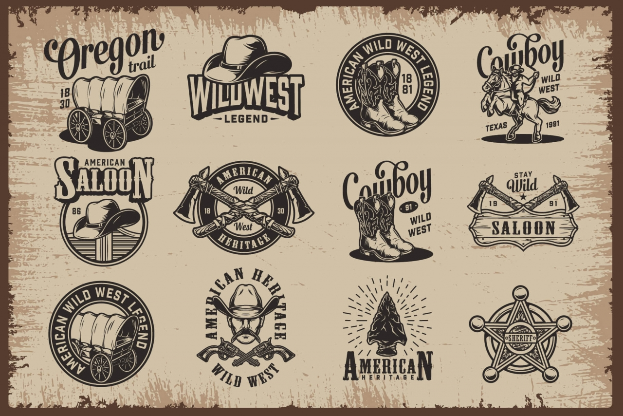 12 Wild West authentic designs with cowboy attributes, rodeo, horseshoe, smoking pipes, sheriff badges elements