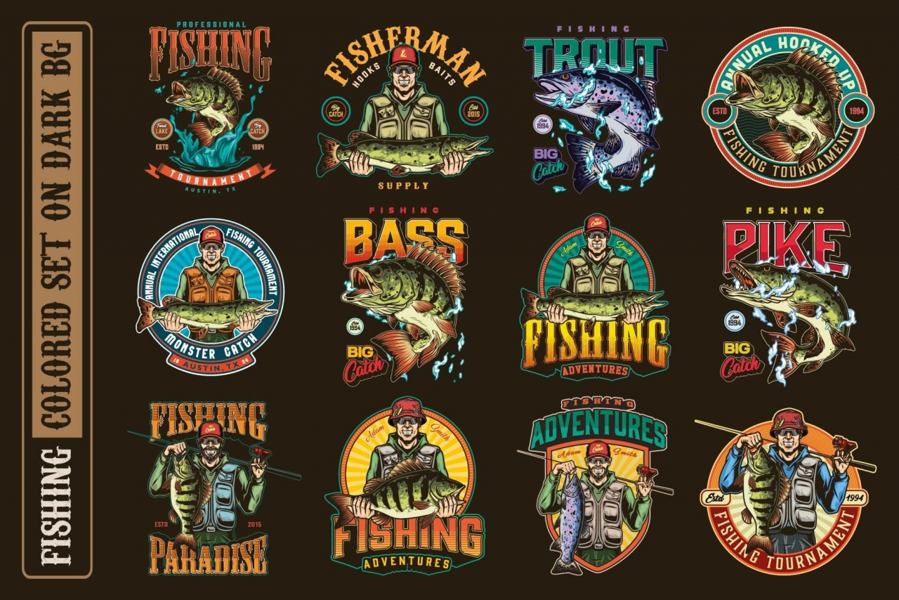 12 fishing colored designs on dark background with different vector illustrations and text
