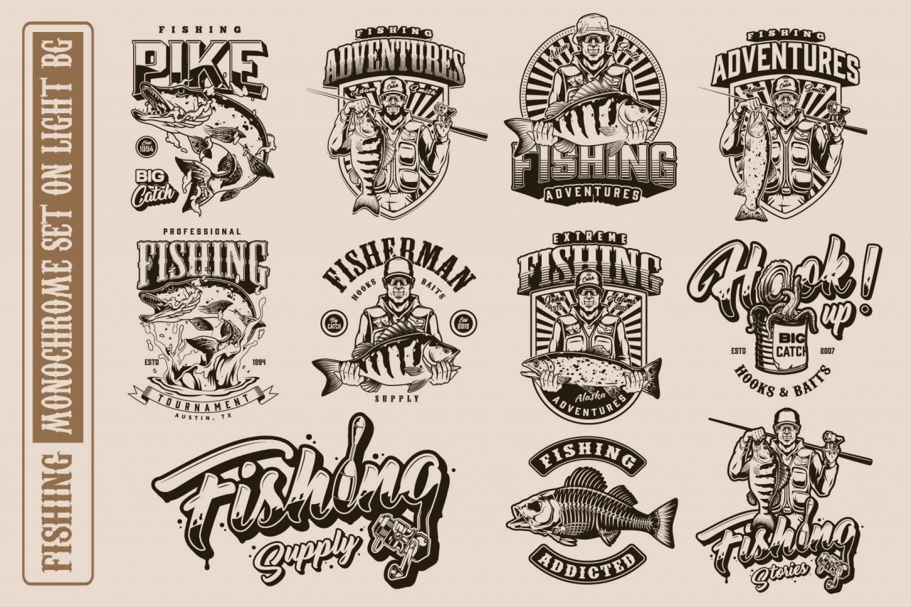 11 fishing monochrome designs on light background with different vector illustrations and text