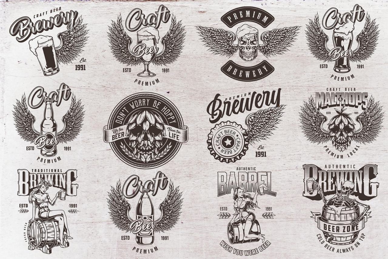 12 beer black and white designs on light background with different vector illustrations and text