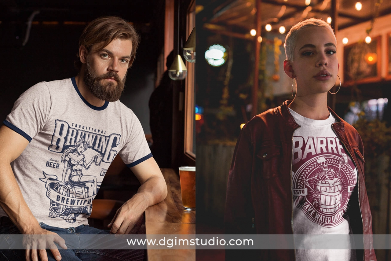2 beer t-shirt designs mockups with man and woman