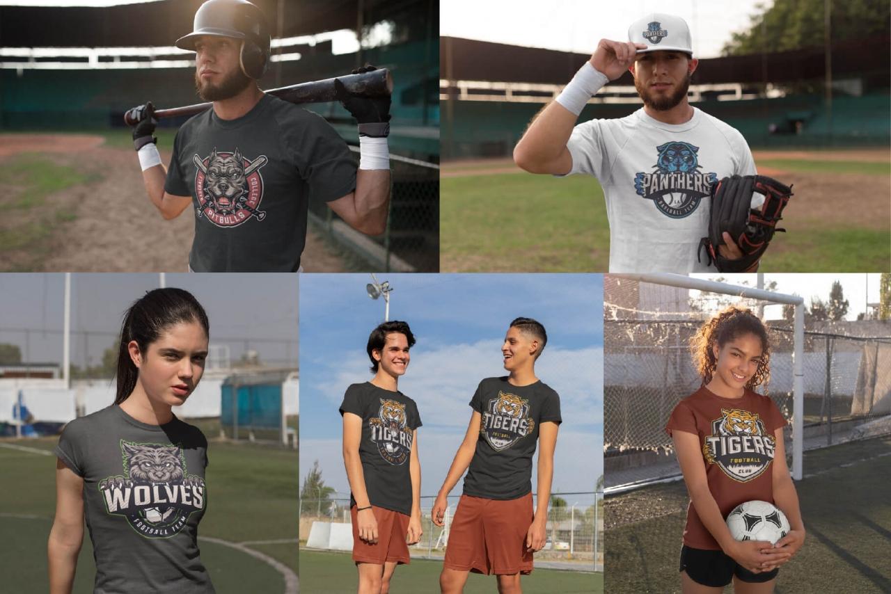 Different sport logos on apparel mockups