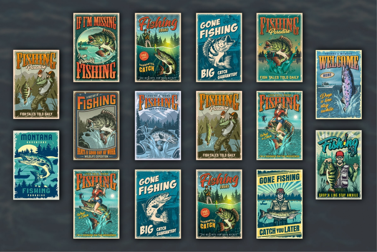 16 Fishing colored posters on dark background with different vector illustrations and text
