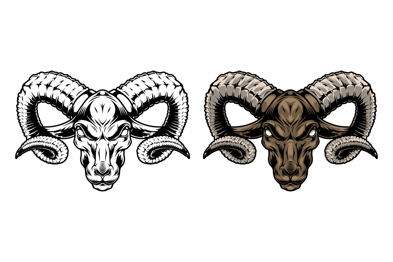 Serious ram head vintage design in color and monochrome versions