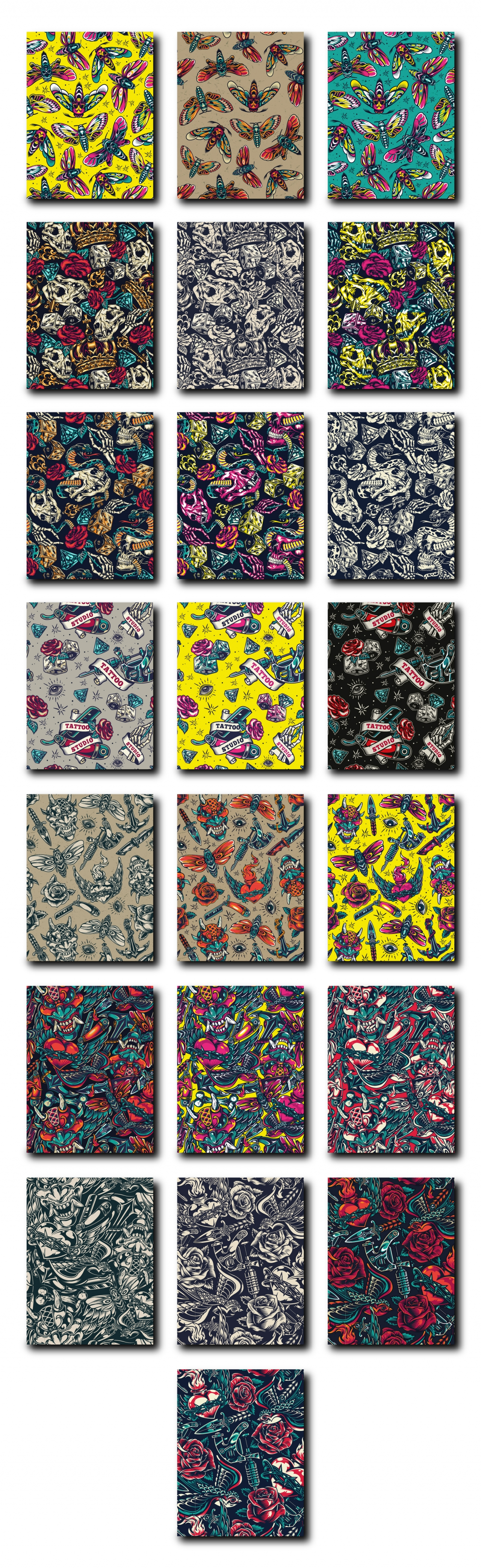 Retro tattoo seamless patterns collection with various elements in different color palettes