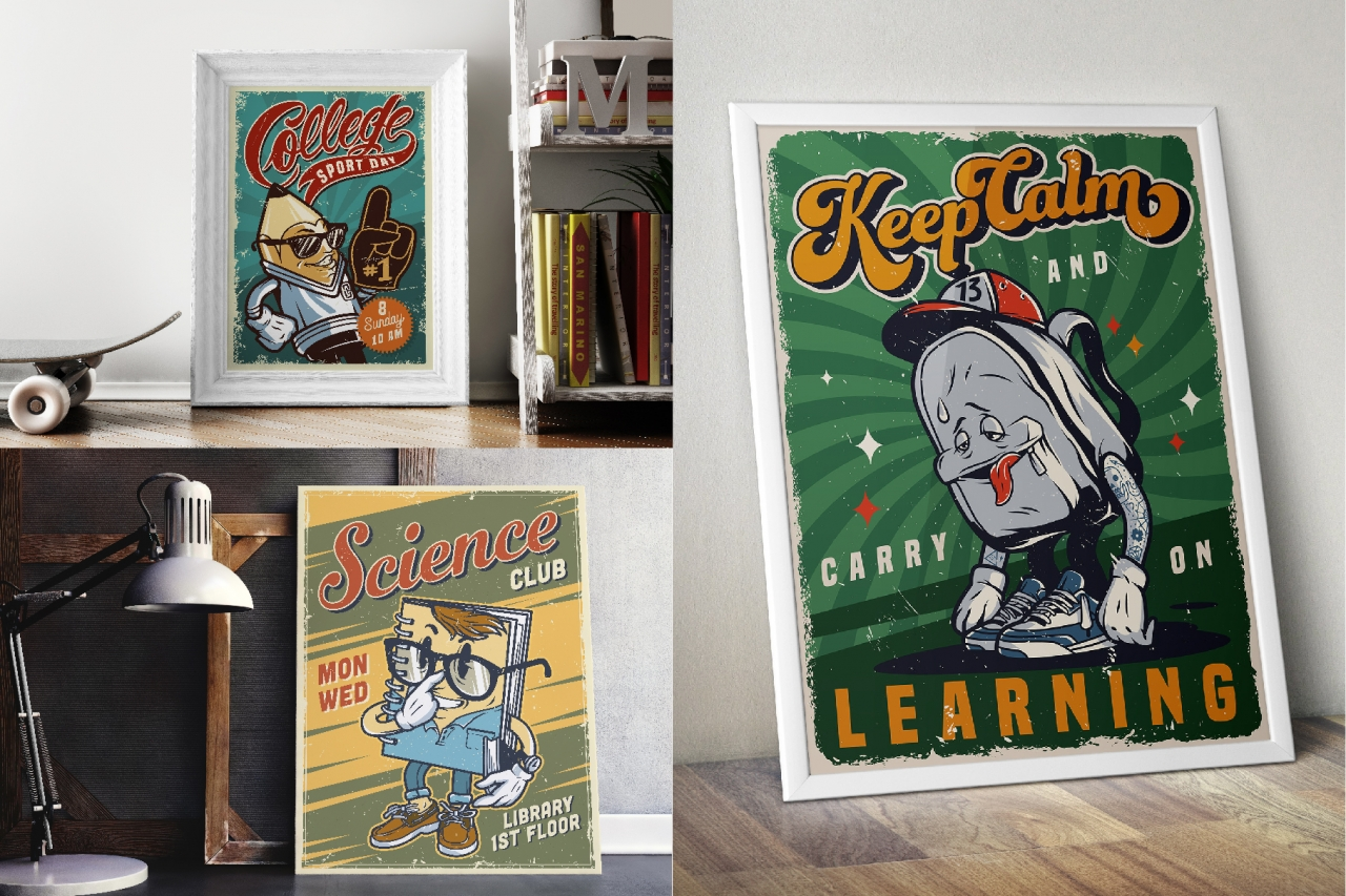 Colorful vintage college posters mockups standing on tables and floor