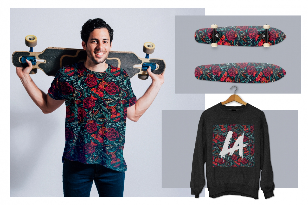 Retro tattoo pattern mockups composition with colorful pattern printing on skateboard, t-shirt and jumper