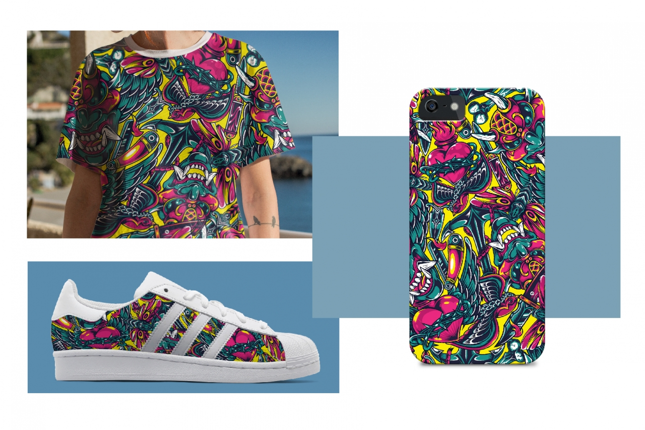 Vintage colorful tattoo pattern printing on sneaker, t-shirt and phone case