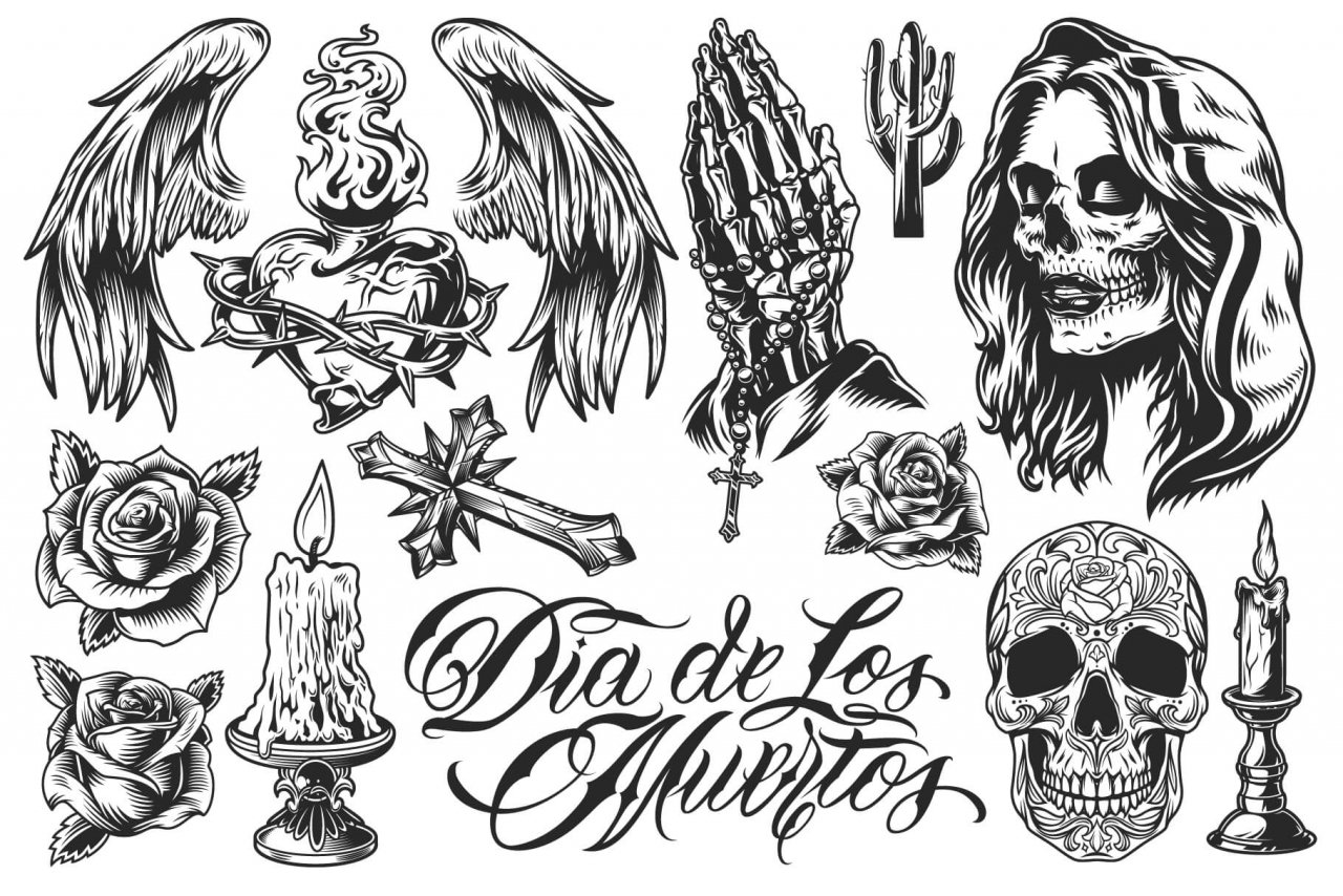 13 Day of the dead vector illustrations with transparent background