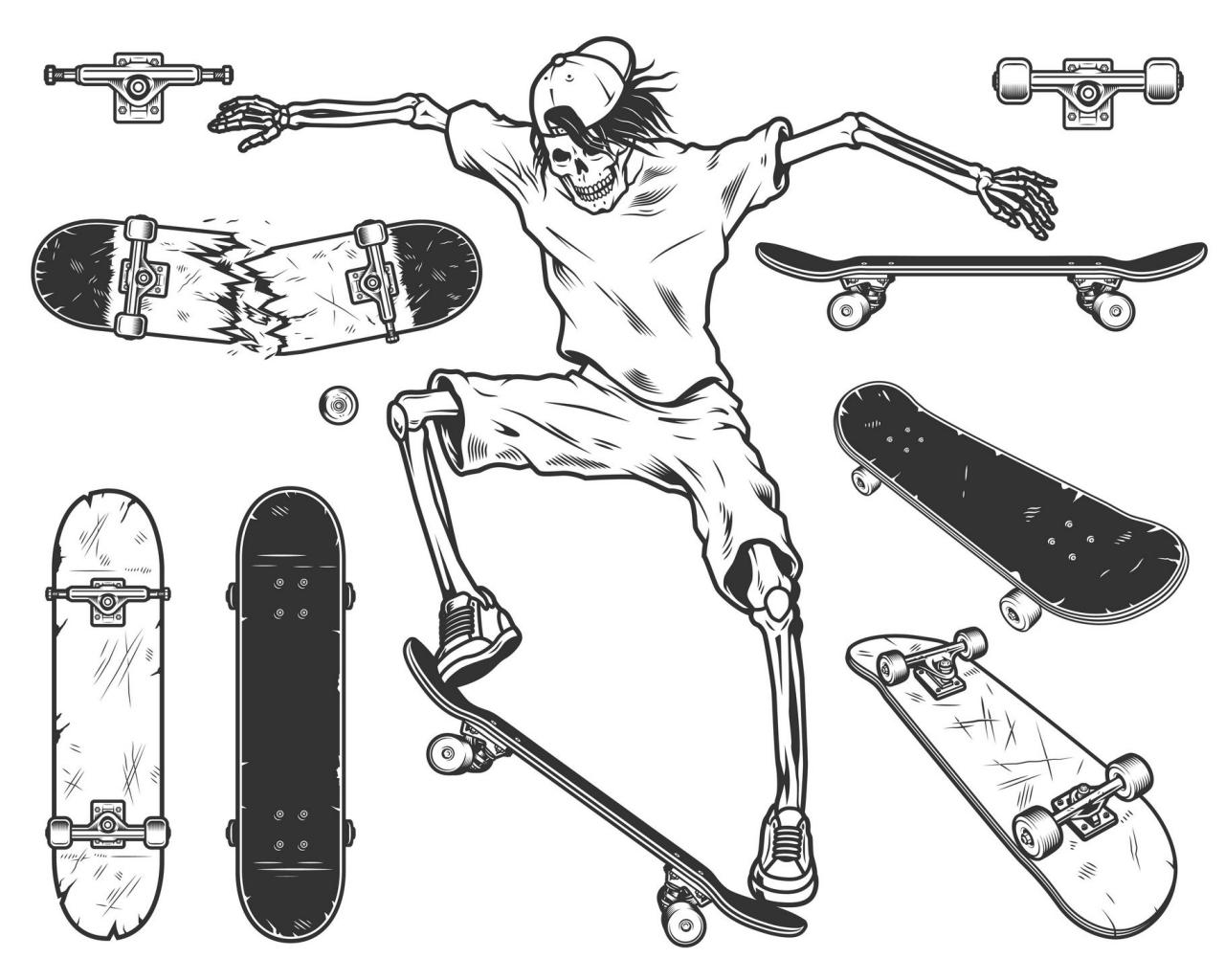 Monochrome skateboard set