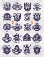 Vintage monochrome style sport clubs badges set with angry gorilla and bear mascots, crossed hockey sticks, joystick and baseball bats