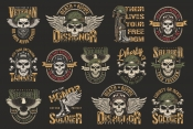 Vintage colorful military emblems collection with eagle wings, boots, weapon, bones and skulls in pilot, tankman, soldier, navy seal helmets