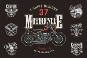 Cover of 37 vintage custom motorcycle t-shirt designs with colorful motorbike and motorcycle monochrome style emblems and badges