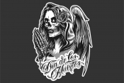 Dia de Los Muertos design. Woman in the hood praying with closed eyes.