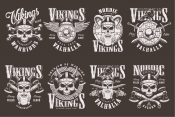 Vintage style Viking emblems collection with barbarian skulls in horned helmet, wooden shield, swords, axes on dark background