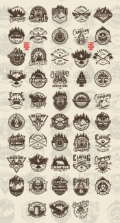 Vintage outdoor recreation monochrome style emblems with animals, forest and mountain landscapes, camping tools and accessories, campfire, travel truck, canoe boat