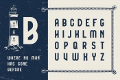 Boatswain typeface cover with lighthouse and English alphabet letters