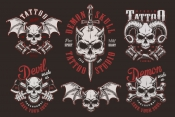 Vintage demon skull tattoo labels with sword, crossbones, axes, tattoo machines and sword on dark background