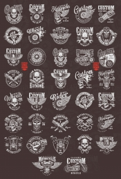 Old school style motorcycle emblems with motorcyclist and biker skulls, engine pistons, spark plugs, eagle, wrenches, american chopper, moto wheel, engine and steering wheel