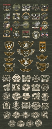 Colorful and monochrome military designs set with army emblems, badges, labels, prints, insignias in vintage style